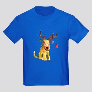 Wheaten terrier with Christmas Antlers Kids Dark T