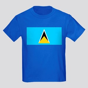 Saint Lucia Flag Kids Dark T-Shirt