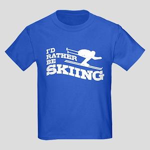 14dc50ec0 I'd Rather Be Skiing Kids Dark T-Shirt