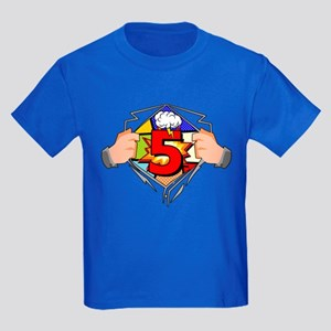 5th Birthday Comic Kids Dark T-Shirt