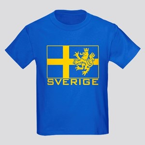 Sverige Flag Kids Dark T-Shirt