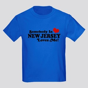 Somebody in New Jersey Loves Me Kids Dark T-Shirt