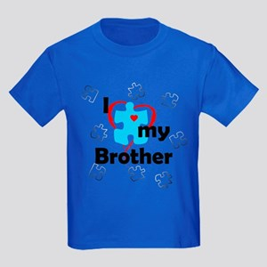 I Love My Brother - Autism Kids Dark T-Shirt