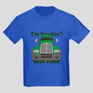 Personalized Im Truckin Kids Dark T-Shirt