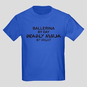 Ballerinia Deadly Ninja Kids Dark T-Shirt
