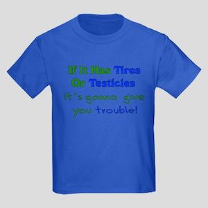 Tires Testicles Trouble Kids Dark T-Shirt