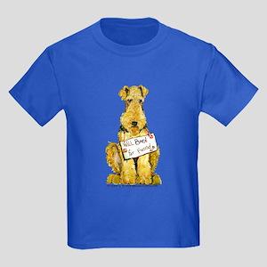 Airedale Terrier Bark for Food Kids Dark T-Shirt