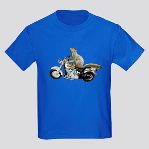 Motorcycle Squirrel Kids Dark T-Shirt