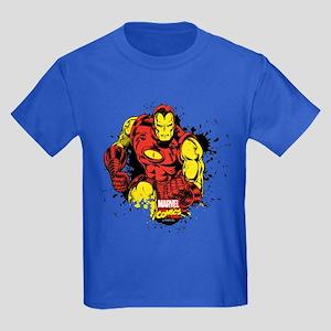 Iron Man Paint Splatter Kids Dark T-Shirt