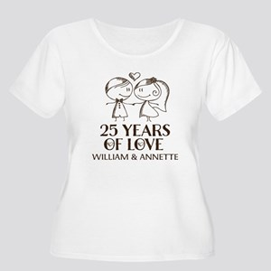 25th Wedding Anniversary Personalized Plus Size T-