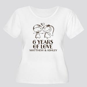 6th Wedding Anniversary Personalized Plus Size T-S