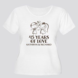 45th Wedding Anniversary Personalized Plus Size T-