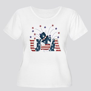 USA Fireworks Women's Plus Size Scoop Neck T-Shirt