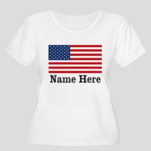 Personalized American Flag Women's Plus Size Scoop