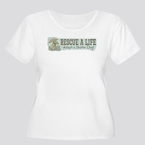 Rescue Dog Quote Women's Plus Size Scoop Neck T-Sh