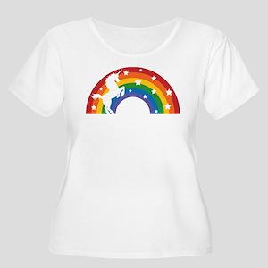 Retro Rainbow Unicorn Plus Size T-Shirt