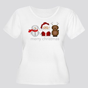 Merry Christmas Characters Women's Plus Size Scoop