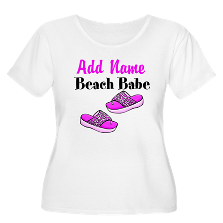 BEACH BABE Women's Plus Size Scoop Neck T-Shirt
