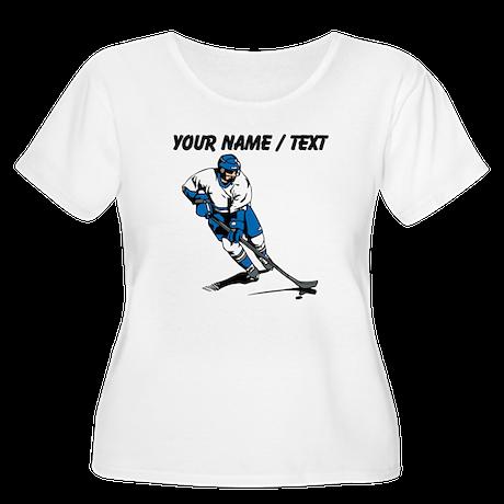 Custom Hockey Player Plus Size T-Shirt