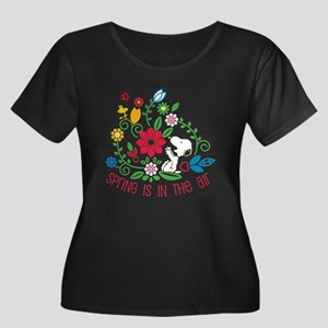 Snoopy Spring Women's Plus Size Scoop Neck T-Shirt