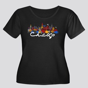 Chicago Women's Plus Size Scoop Neck Dark T-Shirt
