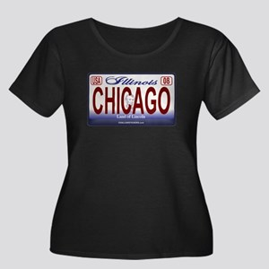 Chicago License Plate Women's Plus Size Scoop Neck