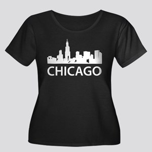 Chicago Skyline Women's Plus Size Scoop Neck Dark