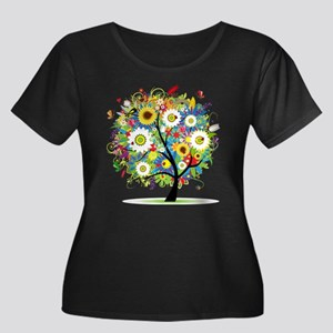 summer tree Women's Plus Size Scoop Neck Dark T-Sh