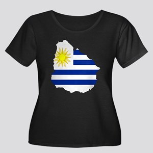 Uruguay Flag Map Women's Plus Size Scoop Neck Dark