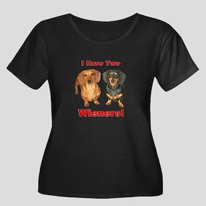 Two Wieners Women's Plus Size Scoop Neck Dark T-Sh