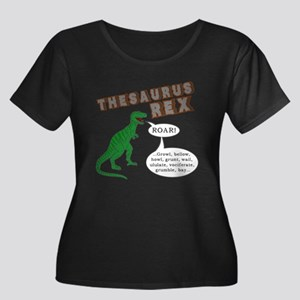 Thesaurus Rex Women's Plus Size Scoop Neck Dark T-