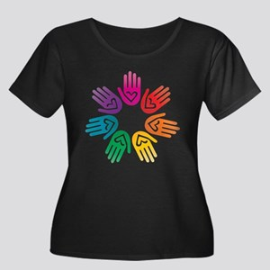 Rainbow Heart Hand Circle Plus Size T-Shirt