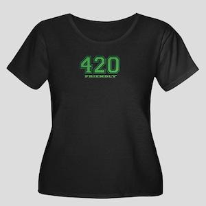 420 Friendly Women's Plus Size Scoop Neck Dark T-S
