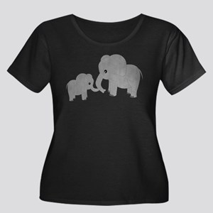 Cute Elephants Mom and Baby Plus Size T-Shirt