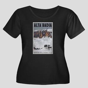 Alta Badia Women's Plus Size Scoop Neck Dark T-Shi