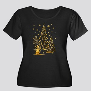 Gold Snowman and Christmas Tr Women's Plus Size Sc