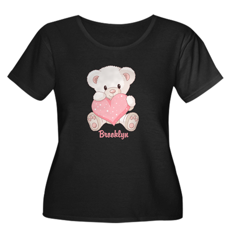 Custom name valentine bear Women's Plus Size Scoop