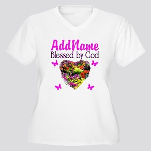 BLESSED BY GOD Women's Plus Size V-Neck T-Shirt