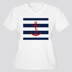 Red Anchor on Blue Stripes Plus Size T-Shirt