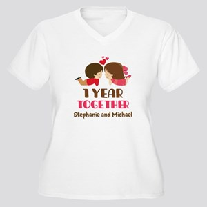 1st Anniversary Personalized 1 year Plus Size T-Sh
