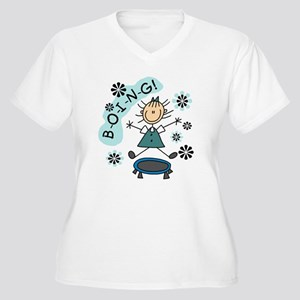 Girl on Trampoline Women's Plus Size V-Neck T-Shir