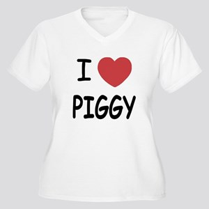 I heart Piggy Women's Plus Size V-Neck T-Shirt