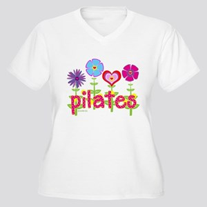 Green Ink Pilates Women's Plus Size V-Neck T-Shirt