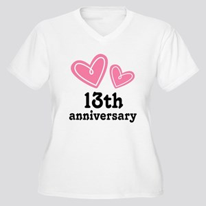 13th Anniversary Women's Plus Size V-Neck T-Shirt