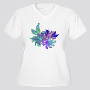 Tropical Arrangem Women's Plus Size V-Neck T-Shirt