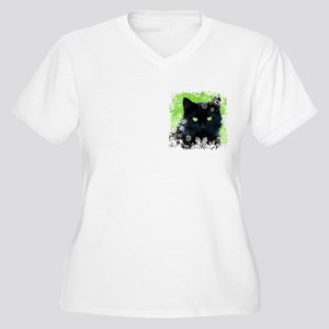 BLACK CAT & SNOWF Women's Plus Size V-Neck T-Shirt