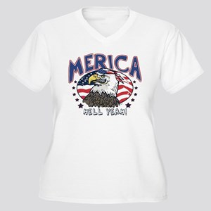 Merica, Hell Yeah Patriotic Bald Eagle Plus Size T