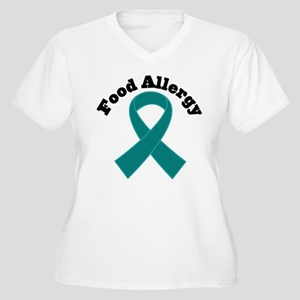 Food Allergy Teal Ribbon Women's Plus Size V-Neck