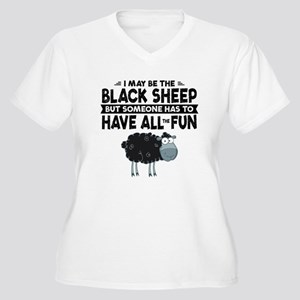 Black Sheep Women's Plus Size V-Neck T-Shirt