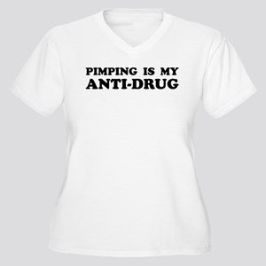 PIMPING IS MY ANTI-DRUG Women's Plus Size V-Neck T